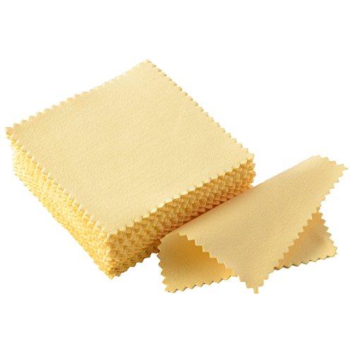 Paño de Limpieza de Joyería Paño de Pulido para Plata Esterlina Oro Platino, 50 Piezas (Amarillo)