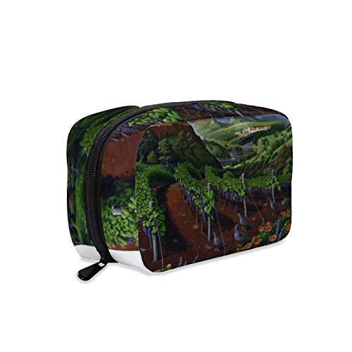 Bolsa de cosméticos, bolsa de maquillaje, bolsa de lavado portátil, bolsa de maquillaje, ideal para viajes, arte de codorniz, uvas rojas, viñedos de uva California