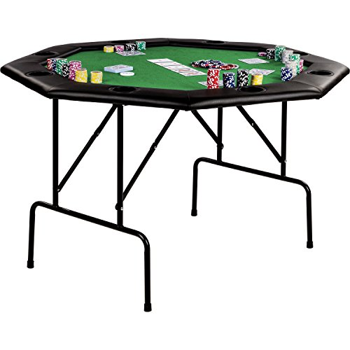 """Maxstore Faltbarer Pokertisch """"Flush"""" für bis zu 8 Spieler, achteckig, Maße 120x120 cm, MDF Platte, gepolsterte Armauflage, 8 Getränkehalter, Tuchfarbe grün"""