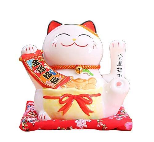 SNLY Winken geluk gelukkige kat met beweegbare arm Maneki Neko, leuke kat L16 * W14 * H16cm, wit