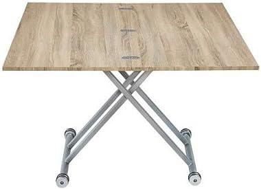 Mesa elevable extensible - Efecto roble -100 x 57/114 x 40/75 cm
