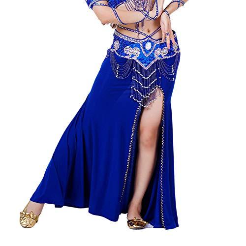 Mujer Traje De Falda De Danza del Vientre De Entrenamiento De Práctica De Baile Zafiro Un tamaño