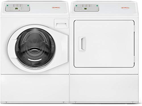 Speed Queen Front Load LFNE5BSP113TW01 27' Washer with LDEE5BGS173TW01 27' Electric Dryer Commercial Laundry Pair in White