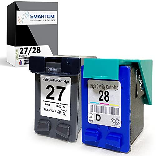SMARTOMI Remanufacturado 27 28 compatibles con HP 27 28 Cartucho para HP Deskjet 3320 3420 3425 3450 3520 3550 3620 3650 3740 3745 3747 3847 5650 5850 Officejet5605 5610 6110 PSC (1 Negro 1 Tricolor)