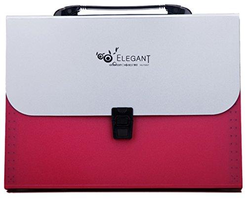 La Vogue Trieur à Soufflet Pochette Valisette A4 Chemise Classeur Papier Bureau 13 Compartiment Rouge
