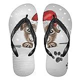 Linomo Sandalias de playa de verano para hombre, diseño de perro de Navidad, color, talla 36.5/39 EU