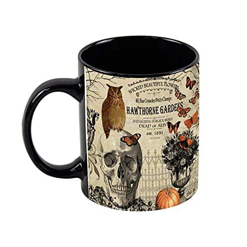 N\A Taza de cerámica para café, búho y Calavera de Halloween, Novedad, Taza de té, café, Regalo navideño, Regalo de cumpleaños, 11 oz