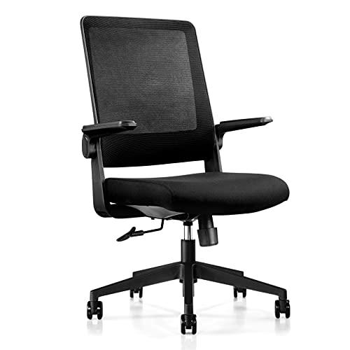 Tsunehiro オフィスチェア 椅子 デスクチェア 跳ね上げ式アームレスト メッシュチェア 事務椅子 パソコンチェア チェア オフィス 勉強椅子 テレワークチェア コンパクト 通気性 ワークチェア ロッキング機能 360度回転座椅子 静音PUキャスター (ブラック)