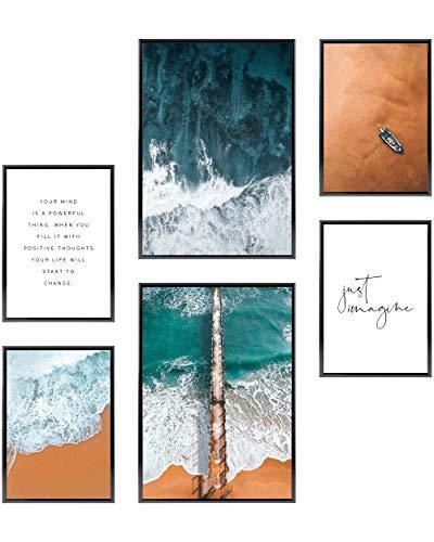 Heimlich® Premium Poster Set | Stilvolles Set mit passenden Bilder als Wohnzimmer Deko | 2 x DIN A3 & 4 x DIN A4 - ca. 30x42 & 21x30 | ohne Bilderrahmen » Strand und Meer «