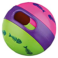 Plastic snack ball Can be filled with treats Snacks fall out from the rolling motion Adjustable opening Trains the cat's skills