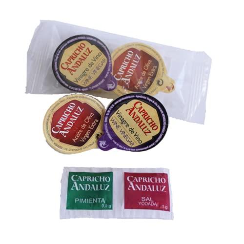 Caja 200 Sets Ensalada de Aceite 10ml, Vinagre 10ml, Sal 1g y Pimienta 0,2g
