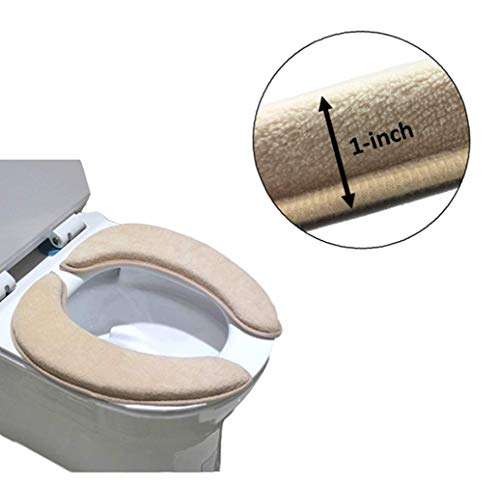 Kasego Padded Toilet Seat Cover Mat Non Slip Soft Toilet Seat Cushion Washable Bathroom Warmer with self-adhesive Tape (Beige)(2K7)