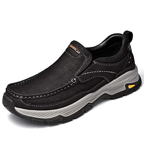 Zapatos casuales Zapatos de cuero planos para hombres, jersey casual con costuras de punta de moc redondeadas, forro elástico de dos colores y suela de goma gruesa (Color : Black, Size : 40 EU)