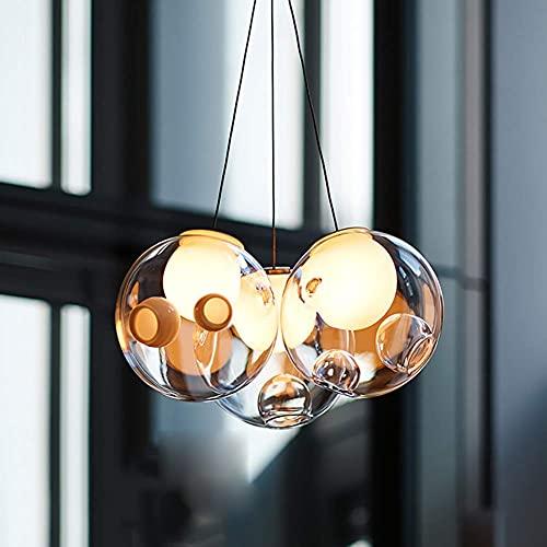 GMLSD Lámparas, Lámpara Colgante Luz de Lámpara Luz de Techo Vidrio Globo Esférico, G4 Colgante de Color Moderno Creativo Ajustable para Niños Habitación Sala de Estar Restaurante,Rojo