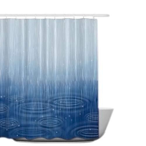 OB Leichter Regen Duschvorhang, Duschvorhang aus Polyester,Anti-Schimmel, Wasserdichter Shower Curtain Anti-Bakteriell,mit 12 Duschvorhangringen & Beschwertem Saum (Leichter Regen, 180 x 180 cm)