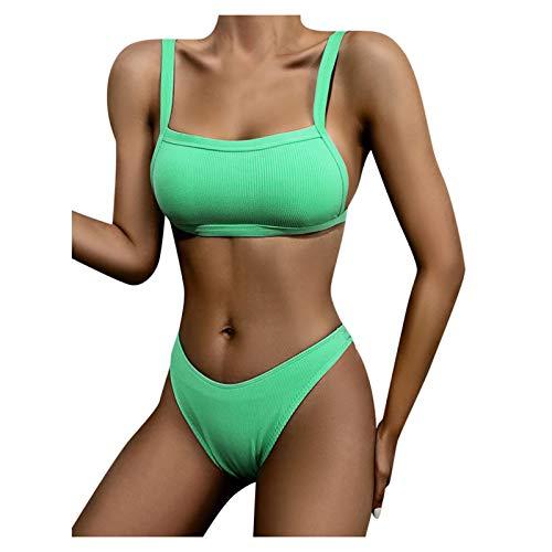 YANFANG Bikini para Mujer de Color sólido Push Up Corte Alto Cordones, Traje BañO Dos Piezas BañAdor Conjunto Sujetador Acolchado