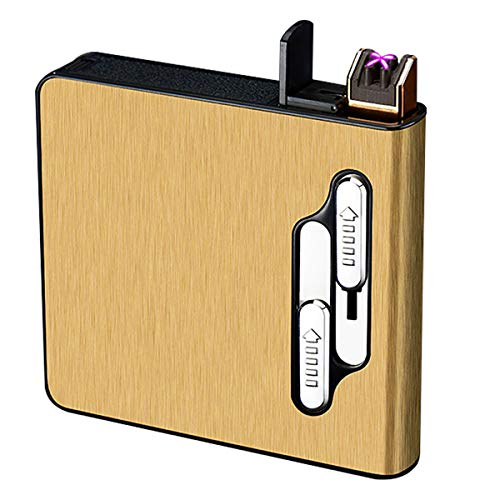 SCYDAO Zigarettenetui mit Feuerzeug, Dual Bogen-Feuerzeug Zigarettenbox, Auto-Auswurf/Auto-Zündung, unterbringen 20 Zigaretten, Elektronisches Feuerzeug Aufladbar,Gold