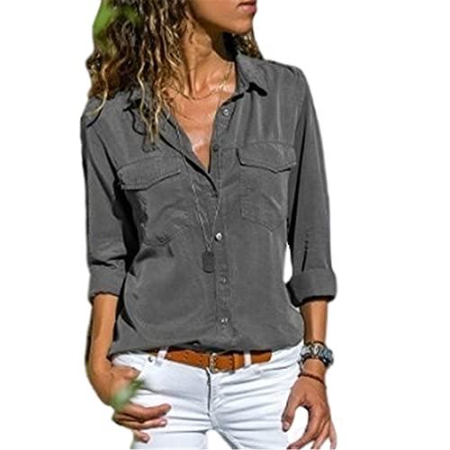 Camisa de manga larga para mujer, gris, XL