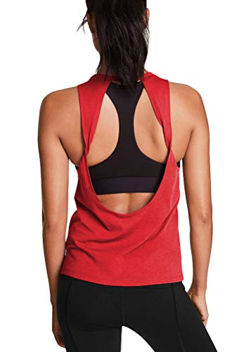 Mippo Workout Tops for Women Cute Yoga Tops Loose Fit Workout Tanks Sleeveless Open Back Workout Top Fitness Athletic Shirts Gym Activewear Tops Trainning Running Tank Tops Red L