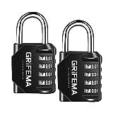 GRIFEMA GA1001 - Candados de seguridad, 4 Digitos, 2 Piezas, Grillete Largo [Exclusivo en Amazon]