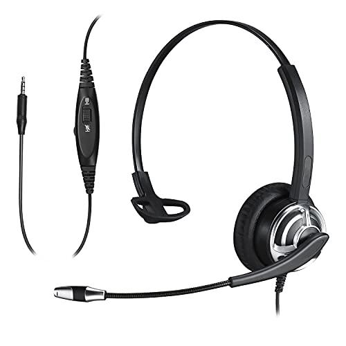 Yexatel Auriculares para teléfono móvil para Trabajar Desde casa Zoom Meeting Videoconferencia PC Virtual Learning Headset para Profesores y Estudiantes Auriculares de Dictado para Nuance Dragon