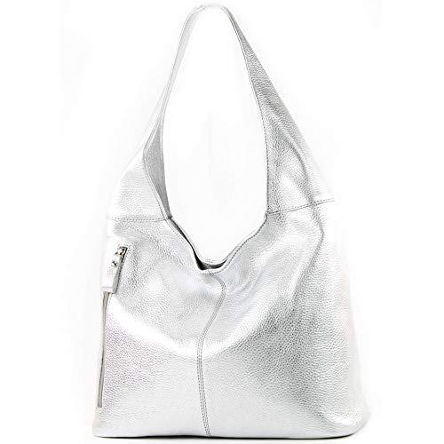 modamoda de - T166 - ital Große Schultertasche aus Leder, Farbe:Silber