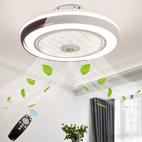 Ventilador De Techo Con Iluminación Control Remoto Regulable Ultra Silencioso Ventilador LED Luz Techo Moderna Invisible Para El Dormitorio Habitación Niños Salón Comedor Lámpara Techo Sala Ø5