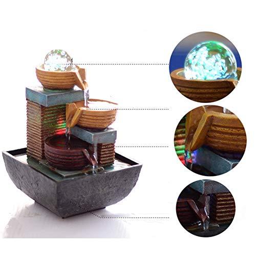 Liapianyun Glücklichen Tischplattendekoration,Rockerybrunnenbrunnenwindrades Garten Wasserspiel Mit Walnuss Stamm,Blau