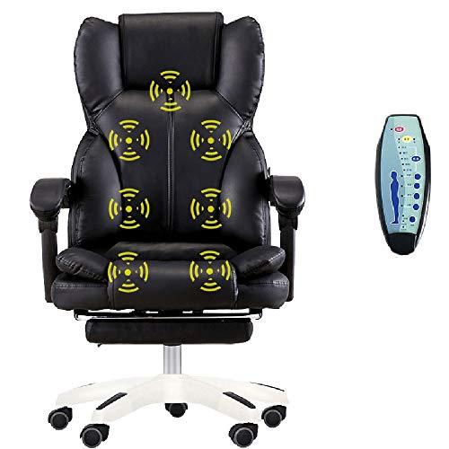 Oficina silla de masaje de alta Volver ejecutivo ergonómico PU silla vibratoria Equipo Tarea balanceo giratorio Gaming Chair, Negro Tao-Miy