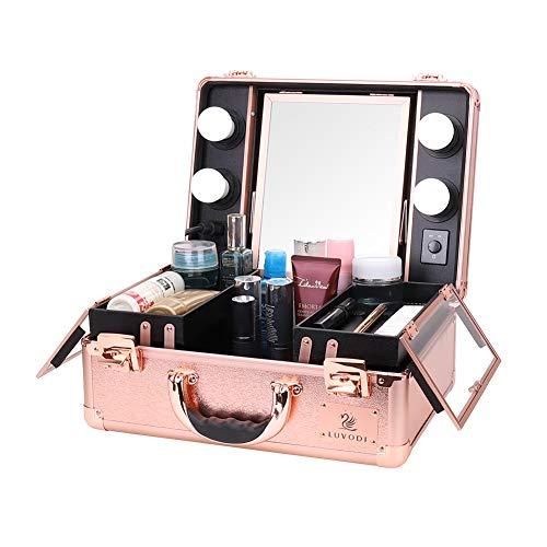LUVODI メイクボックス 鏡付き 大容量 持ち運び プロ仕様 鍵付き バニティーケース ライト付 ピンクゴールド おしゃれ 旅行 可愛い 化粧品収納ボックス 女子へのギフト 鏡台