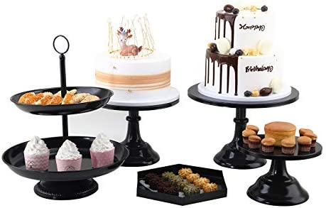 5 Pcs Black Cake Stands Set Metal Cupcake Holder Round Dessert Display Plate Serving Platter product image