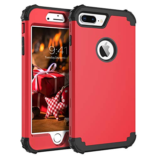 BENTOBEN Case for iPhone 8 Plus, iPhone 7 Plus Case, 3 in 1 Hybrid Hard Plastic Soft Rubber Heavy Duty Rugged Bumper Shockproof Full-Body Protective Phone Cover for iPhone 8 Plus/7 Plus, Red&Black