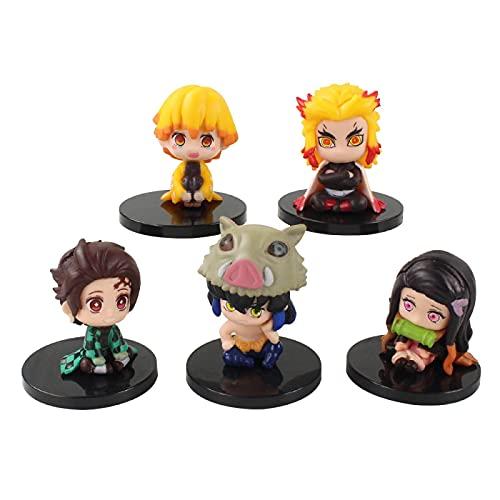 5 Piezas Anime Demon Slayer Figurines Estatua Figuras Kimetsu No Yaiba Kamado Linda Figura De Acción De PVC Juguete Coleccionable Modelo Muñeca Regalo para Niños 4Cm