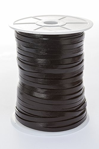 esnado Lederband Flach 5 mm x 1,5 mm. Farbe/Länge: wählbar (5 Meter, Schwarz)