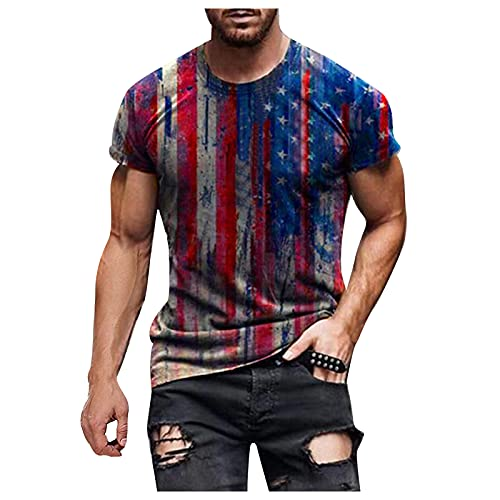 Burband 2021 Men's 4th of July Workout Muscle T-Shirt Short Sleeve American USA Flag Printed Graphic Tee Athletic Tops