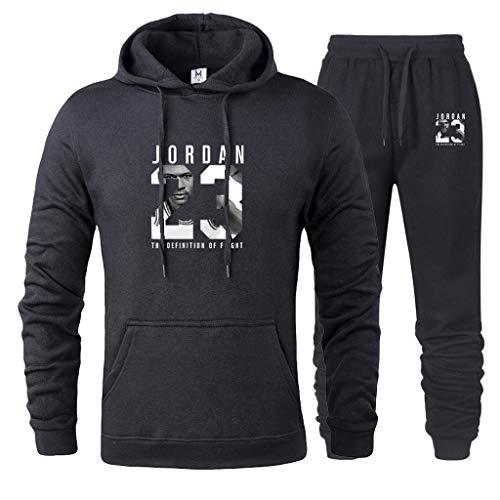 MFsports Chicago Bulls Michael Jordan #23 Herren Trainingsanzug Sweatjacke Hose Basketball Sportbekleidung Jogging Fitnessanzug Hoodie + Hosen