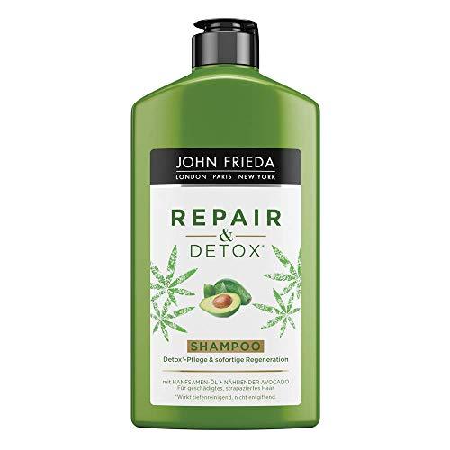 John Frieda Repair & Detox Champú–con aceite de aguacate y té verde–para cabello strapaziertes, 250ml