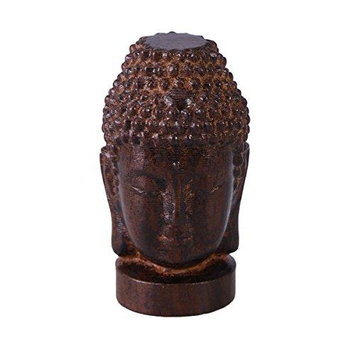 rosenice Wooden Buddha Statue Religious Sakyamuni Buddha Head Figurine Statue Serenity Collection