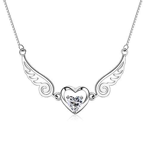 MKFY Damen Halskette, Angel Wings Love Heart Anhänger Halskette, 925 Sterling Silber Damen Schmuck Halskette, für ihre Frau, Freundin, Mutter, Freund Geburtstag und Hochzeitstag, elegante Box