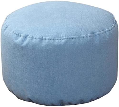 Cojín de asiento, reposapiés, silla de lino de punto de algodón de punto suave, silla de bolso de frijol de lino de punto, plato de futón grueso Pouf redondo pequeño cúpula decorativo silla azul-azul