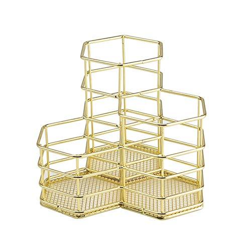 JJYGONG Herramienta de Maquillaje Alenamiento Rack Rack Diamond Pender Holder Hexagon Tres Maquillaje Pincel Cesta de Alenamiento Caja de Alenamiento Titular de la Pluma fuerte y ro