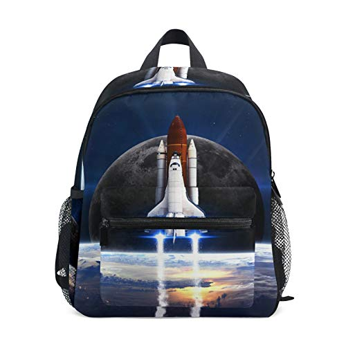 Backpack for Boys and Girls Mini Backpack Travel Bag with Chest Clip Space Earth Rocket