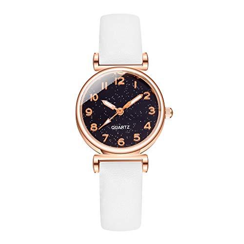 Fenverk Damen Uhr Analog Quarz Armbanduhr, Damenuhren Mit Blau Sternenhimmel-Zifferblatt FüR Frauen,Frauen Geschenk,Uhr Rosegold Damen(D)