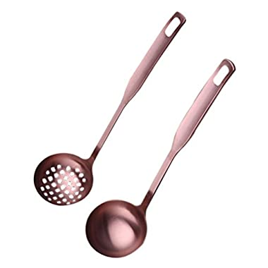 BESTONZON 2 Pcs Soup Spoons Hot Pot Fat Skimmer Spoon,Dinner Spoons,Serving Spoon Set,Mesh Strainer,Kitchen Dinnerware Cooking Tools (Rose Gold)