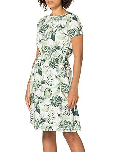 Timezone Damen Printed Basic Dress Lässiges Kleid, Green White Philo Leaves, M