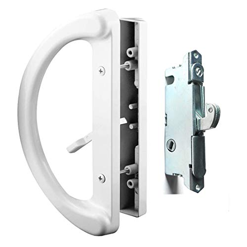 "Patio Door Handle Set + Mortise Lock 45° Perfect Replacement for Sliding Glass Door Fits 3-15/16"" Screw Hole Spacing, Non-keyed with Mortise Latch Locks,White Diecast,Reversible Design(Non-Handed)"