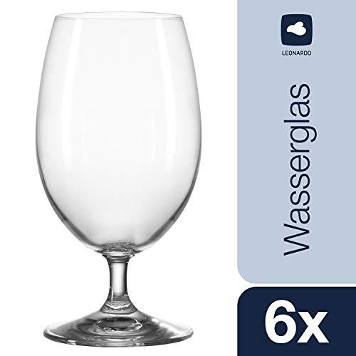 Leonardo Daily Wasser-Glas, Trink-Becher aus Glas, spülmaschinenfestes Getränke-Glas mit Stiel, 6er Set, 370 ml, 063311