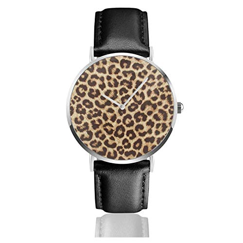 Reloj de leopardo Movimiento de cuarzo Correa de reloj de cuero impermeable para hombres Mujeres Reloj informal de negocios simple