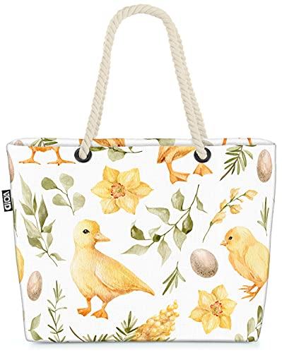 VOID Ente Hühnchen Eier Ostern Strandtasche Shopper 58x38x16cm 23L XXL Einkaufstasche Tasche Reisetasche Beach Bag