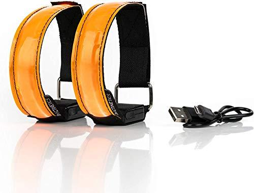 i-Found Brazalete LED recargable, 2 piezas de banda de luz con USB para niños, luz de seguridad nocturna para correr con cinta reflectante, para correr/ciclismo (naranja*highlight)